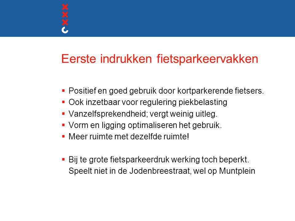 Eerste indrukken fietsparkeervakken  Positief en goed gebruik door kortparkerende fietsers.  Ook inzetbaar voor regulering piekbelasting  Vanzelfsp