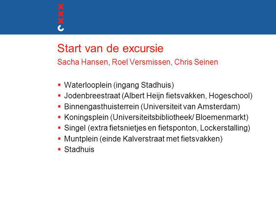 Start van de excursie Sacha Hansen, Roel Versmissen, Chris Seinen  Waterlooplein (ingang Stadhuis)  Jodenbreestraat (Albert Heijn fietsvakken, Hoges