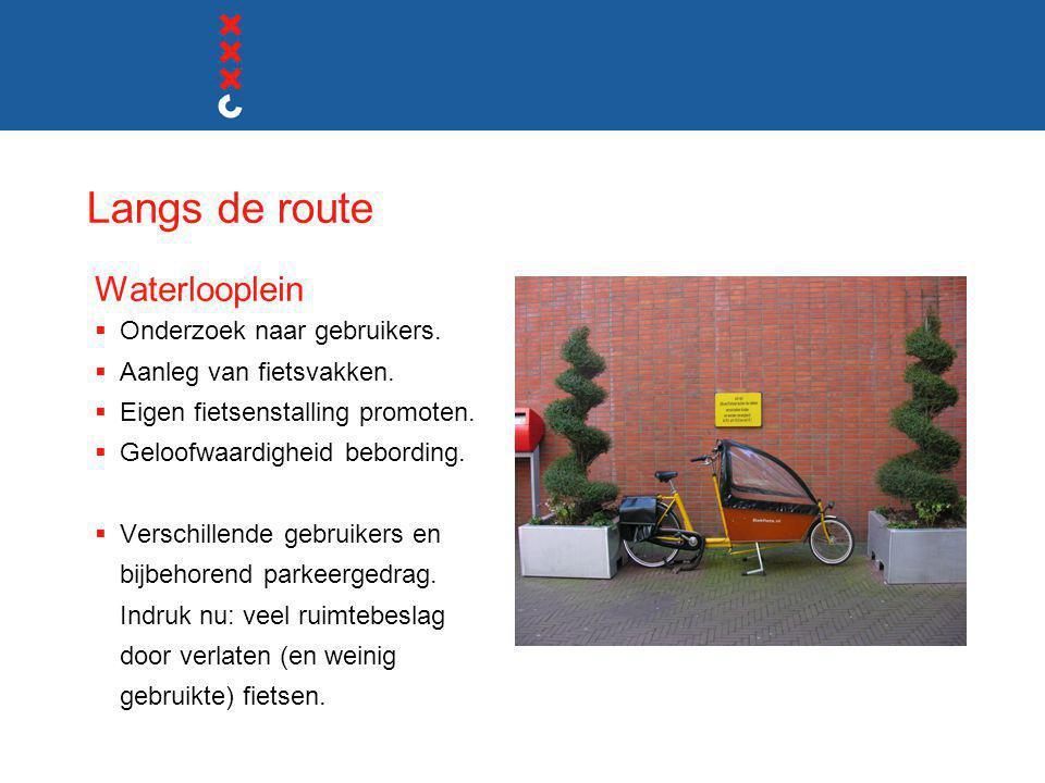 Langs de route Waterlooplein  Onderzoek naar gebruikers.  Aanleg van fietsvakken.  Eigen fietsenstalling promoten.  Geloofwaardigheid bebording. 