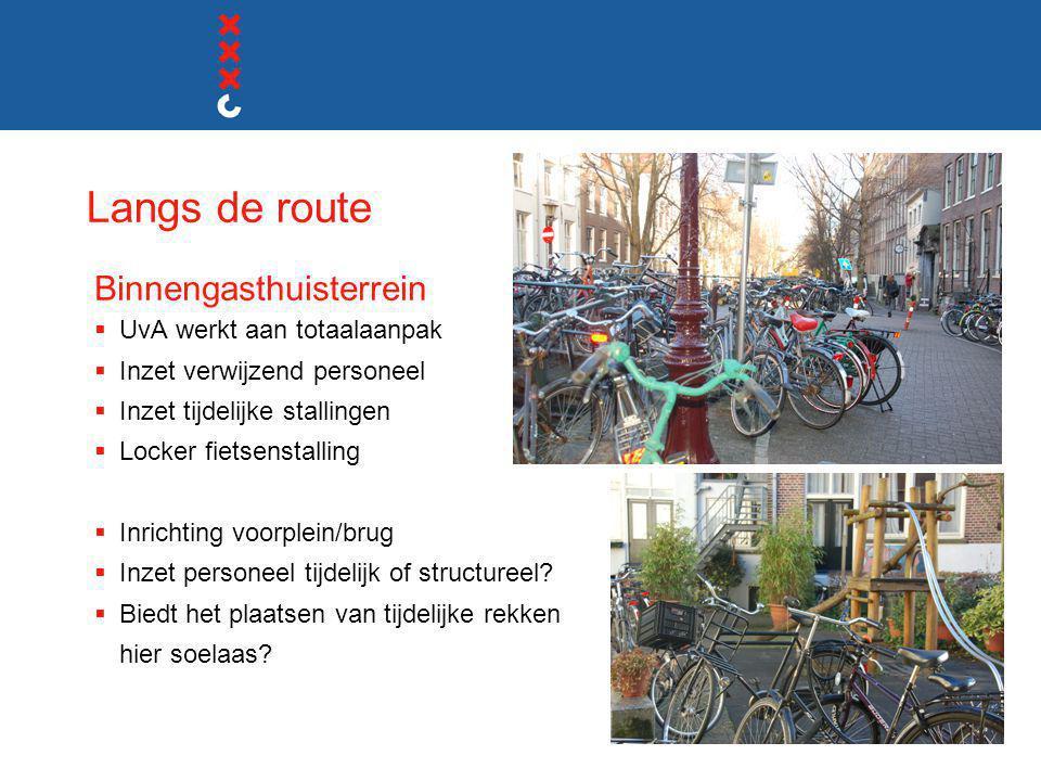 Langs de route Binnengasthuisterrein  UvA werkt aan totaalaanpak  Inzet verwijzend personeel  Inzet tijdelijke stallingen  Locker fietsenstalling