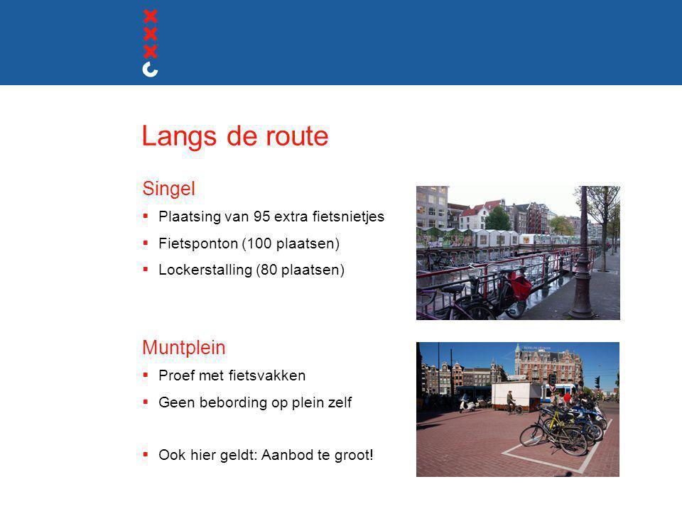 Langs de route Singel  Plaatsing van 95 extra fietsnietjes  Fietsponton (100 plaatsen)  Lockerstalling (80 plaatsen) Muntplein  Proef met fietsvak