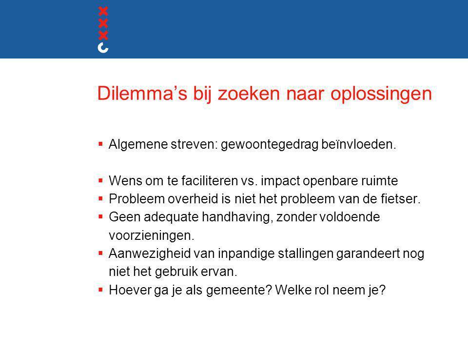 Dilemma's bij zoeken naar oplossingen  Algemene streven: gewoontegedrag beïnvloeden.  Wens om te faciliteren vs. impact openbare ruimte  Probleem o