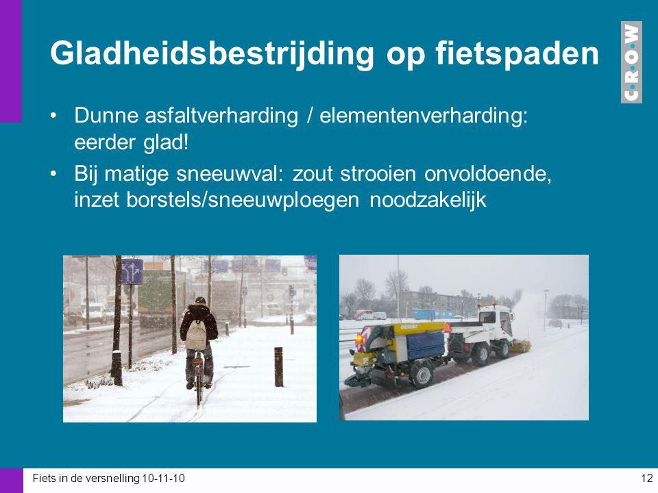 Fiets in de versnelling 10-11-1012 Gladheidsbestrijding op fietspaden Dunne asfaltverharding / elementenverharding: eerder glad! Bij matige sneeuwval: