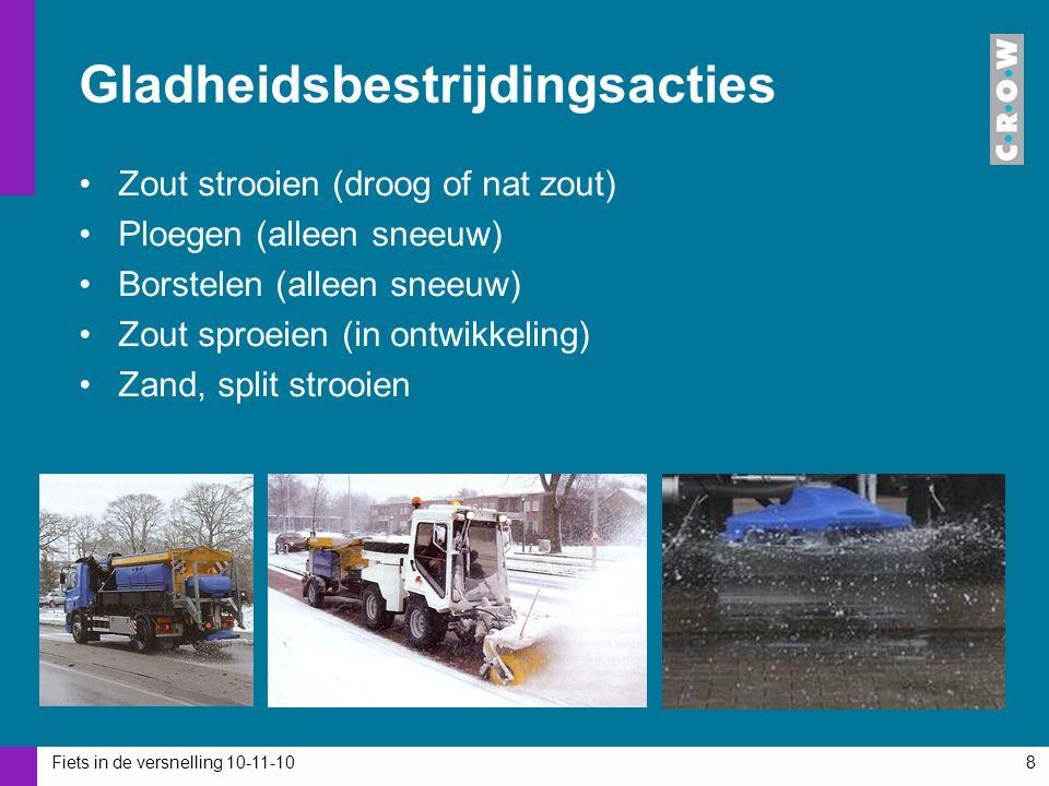 Fiets in de versnelling 10-11-108 Gladheidsbestrijdingsacties Zout strooien (droog of nat zout) Ploegen (alleen sneeuw) Borstelen (alleen sneeuw) Zout