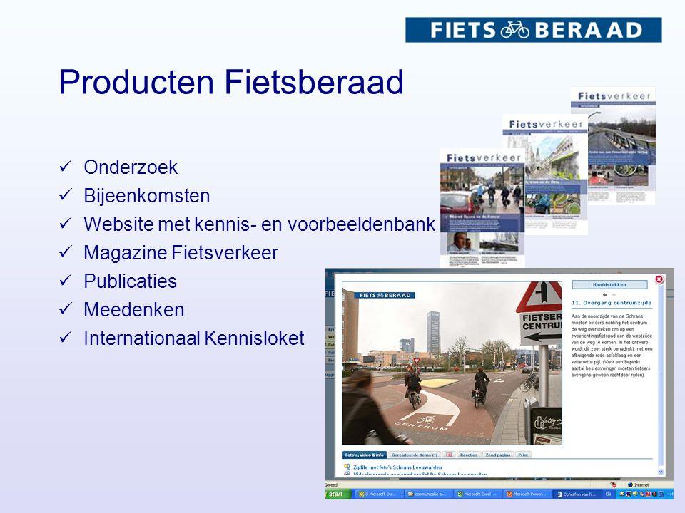 Producten Fietsberaad Onderzoek Bijeenkomsten Website met kennis- en voorbeeldenbank Magazine Fietsverkeer Publicaties Meedenken Internationaal Kennisloket