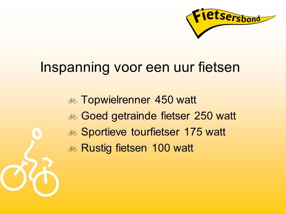 Inspanning voor een uur fietsen  Topwielrenner 450 watt  Goed getrainde fietser 250 watt  Sportieve tourfietser 175 watt  Rustig fietsen 100 watt