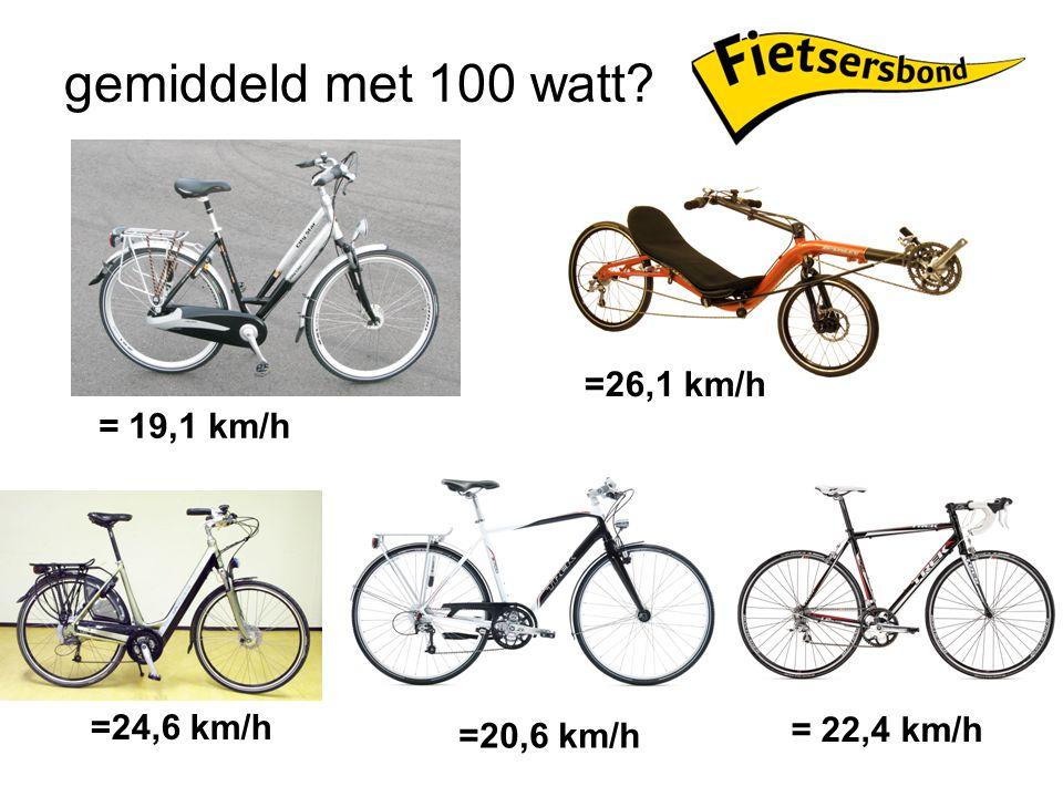 gemiddeld met 100 watt? = 19,1 km/h =26,1 km/h =24,6 km/h =20,6 km/h = 22,4 km/h