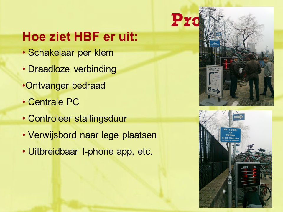 Hoe ziet HBF er uit: Schakelaar per klem Draadloze verbinding Ontvanger bedraad Centrale PC Controleer stallingsduur Verwijsbord naar lege plaatsen Uitbreidbaar I-phone app, etc.