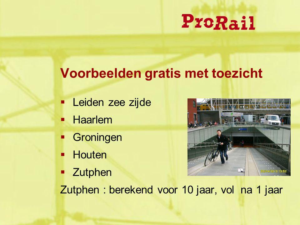Voorbeelden gratis met toezicht  Leiden zee zijde  Haarlem  Groningen  Houten  Zutphen Zutphen : berekend voor 10 jaar, vol na 1 jaar
