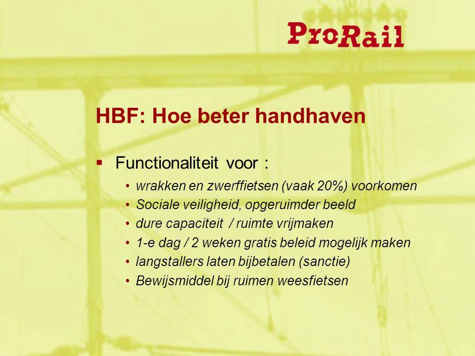 HBF: Hoe beter handhaven  Functionaliteit voor : wrakken en zwerffietsen (vaak 20%) voorkomen Sociale veiligheid, opgeruimder beeld dure capaciteit /