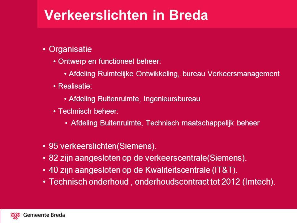 Verkeerslichten in Breda Organisatie Ontwerp en functioneel beheer: Afdeling Ruimtelijke Ontwikkeling, bureau Verkeersmanagement Realisatie: Afdeling