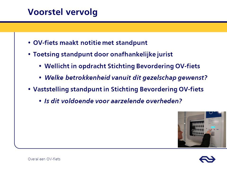 Overal een OV-fiets Voorstel vervolg OV-fiets maakt notitie met standpunt Toetsing standpunt door onafhankelijke jurist Wellicht in opdracht Stichting