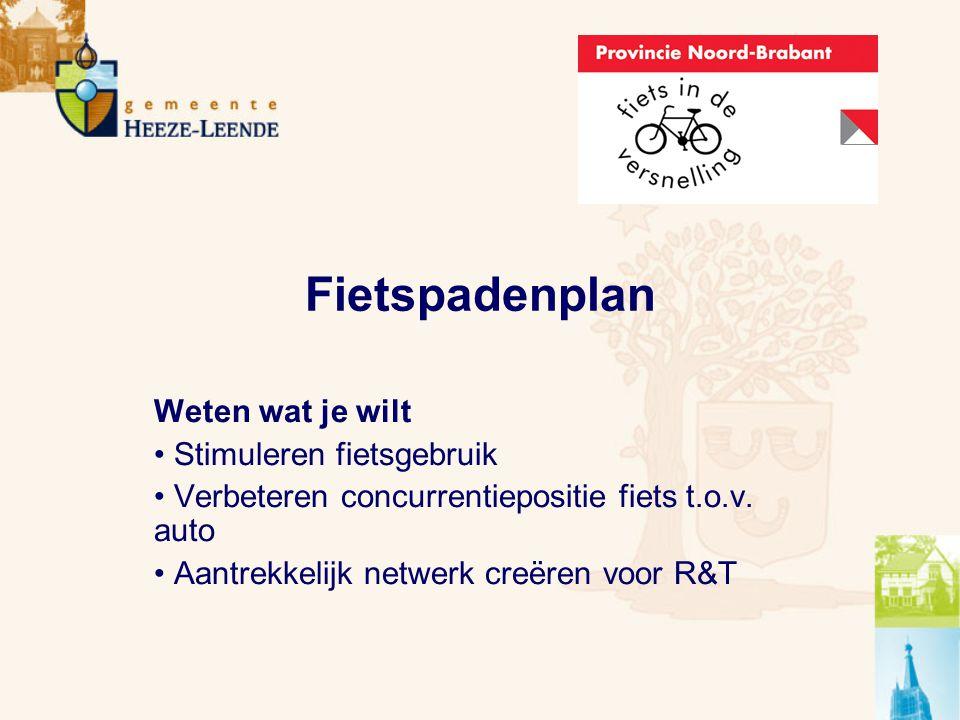 Fietspadenplan Weten wat je wilt Stimuleren fietsgebruik Verbeteren concurrentiepositie fiets t.o.v.