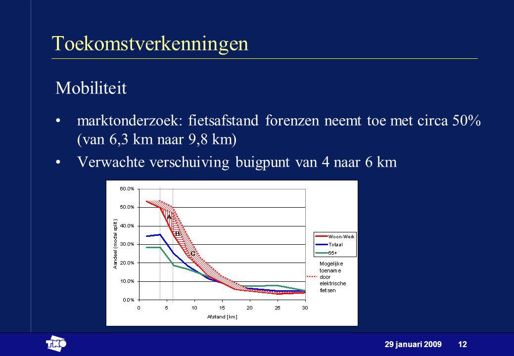 29 januari 200912 Toekomstverkenningen Mobiliteit marktonderzoek: fietsafstand forenzen neemt toe met circa 50% (van 6,3 km naar 9,8 km) Verwachte ver