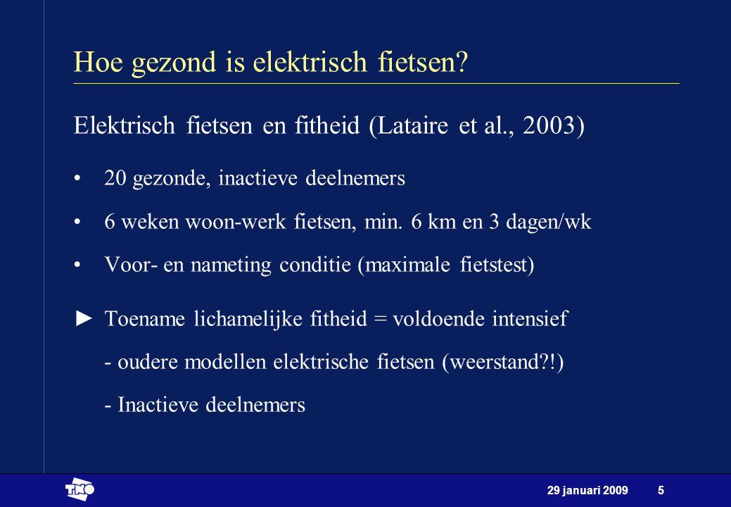 29 januari 200916 Toekomstverkenningen Aandachtspunten: -allen inschattingen van potentie -meer (prakijk)onderzoek nodig -imago van de elektrische fiets -verkeersveiligheid, infrastructuur, luchtverontreiniging