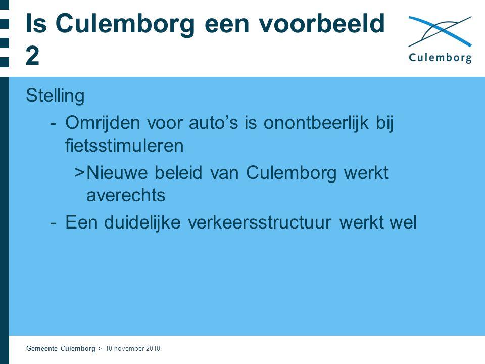 Gemeente Culemborg > 10 november 2010 Is Culemborg een voorbeeld 2 Stelling  Omrijden voor auto's is onontbeerlijk bij fietsstimuleren  Nieuwe belei