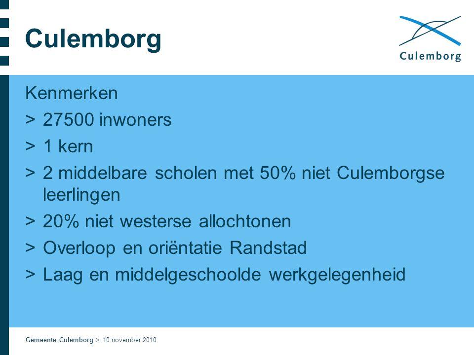 Gemeente Culemborg > 10 november 2010 Culemborg Kenmerken >27500 inwoners >1 kern >2 middelbare scholen met 50% niet Culemborgse leerlingen >20% niet
