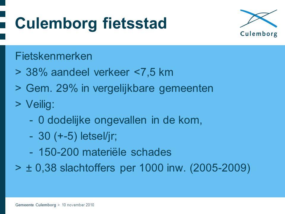 Gemeente Culemborg > 10 november 2010 Culemborg fietsstad Fietskenmerken >38% aandeel verkeer <7,5 km >Gem. 29% in vergelijkbare gemeenten >Veilig: 
