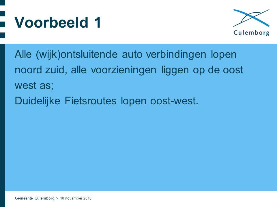 Gemeente Culemborg > 10 november 2010 Voorbeeld 1 Alle (wijk)ontsluitende auto verbindingen lopen noord zuid, alle voorzieningen liggen op de oost wes