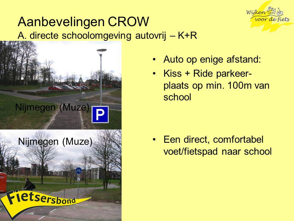 Aanbevelingen CROW A. directe schoolomgeving autovrij – K+R Auto op enige afstand: Kiss + Ride parkeer- plaats op min. 100m van school Een direct, com