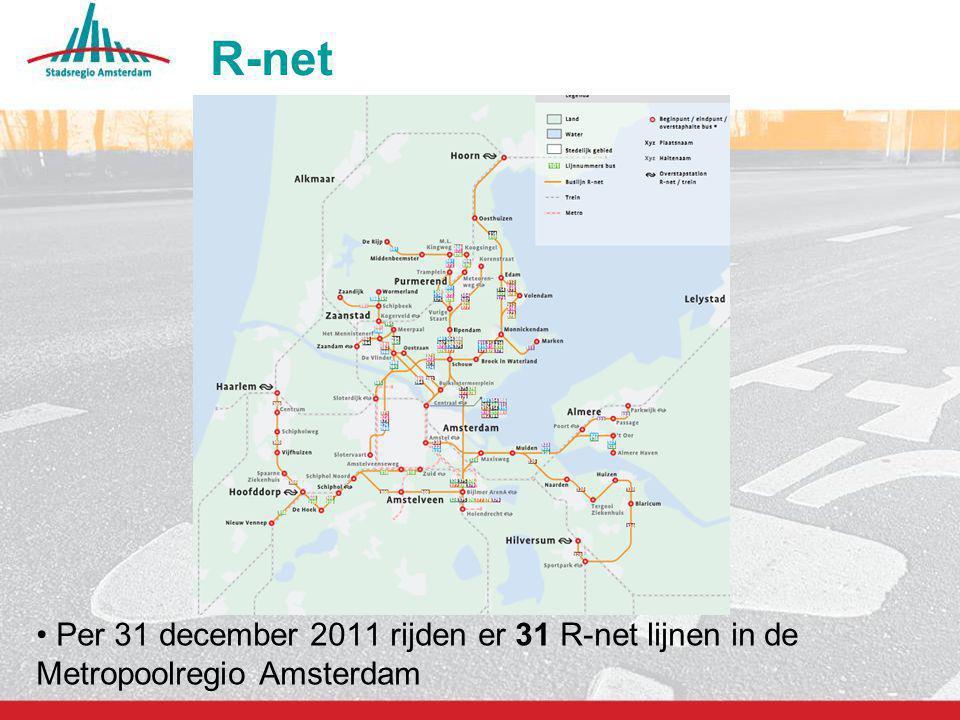 10 R-net Per 31 december 2011 rijden er 31 R-net lijnen in de Metropoolregio Amsterdam