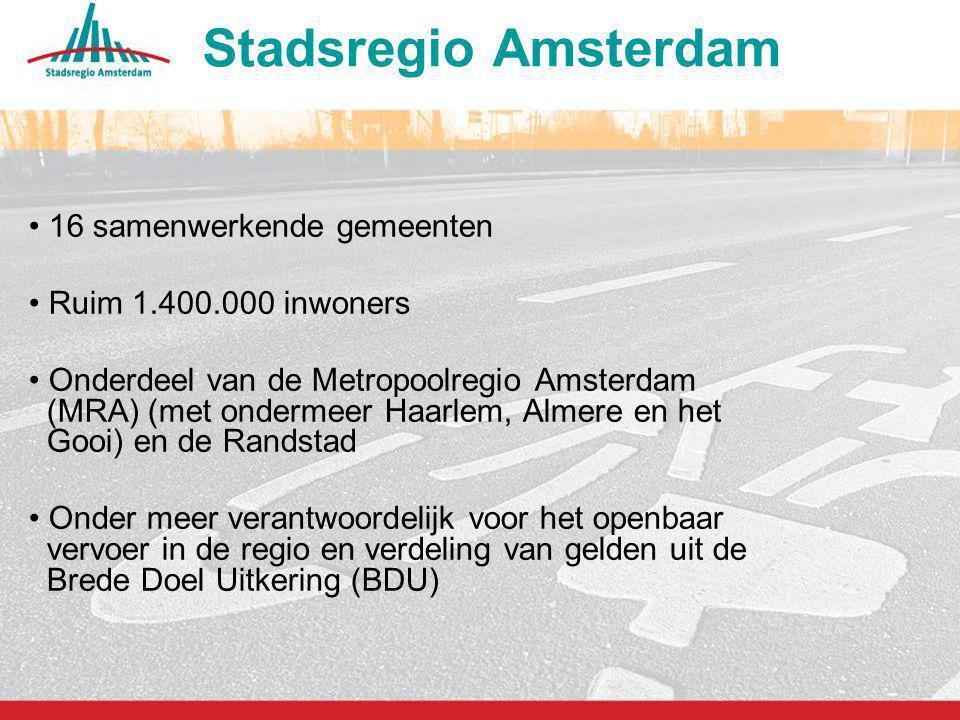 2 16 samenwerkende gemeenten Ruim 1.400.000 inwoners Onderdeel van de Metropoolregio Amsterdam (MRA) (met ondermeer Haarlem, Almere en het Gooi) en de