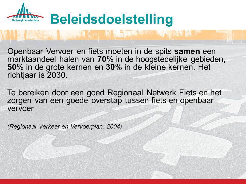 4 Openbaar Vervoer en fiets moeten in de spits samen een marktaandeel halen van 70% in de hoogstedelijke gebieden, 50% in de grote kernen en 30% in de
