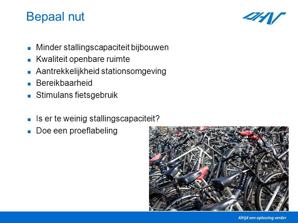 Bepaal nut Minder stallingscapaciteit bijbouwen Kwaliteit openbare ruimte Aantrekkelijkheid stationsomgeving Bereikbaarheid Stimulans fietsgebruik Is er te weinig stallingscapaciteit.