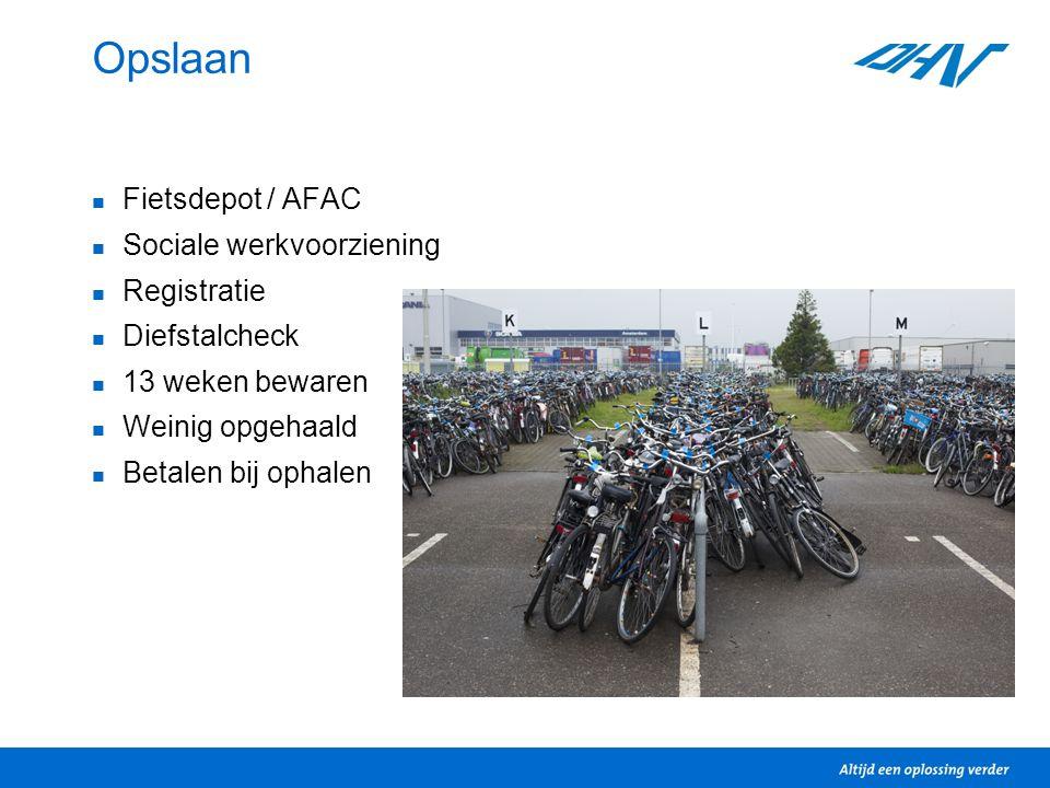 Opslaan Fietsdepot / AFAC Sociale werkvoorziening Registratie Diefstalcheck 13 weken bewaren Weinig opgehaald Betalen bij ophalen