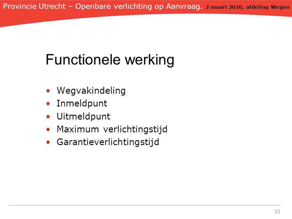 10 Functionele werking Wegvakindeling Inmeldpunt Uitmeldpunt Maximum verlichtingstijd Garantieverlichtingstijd Provincie Utrecht – Openbare verlichting op Aanvraag.