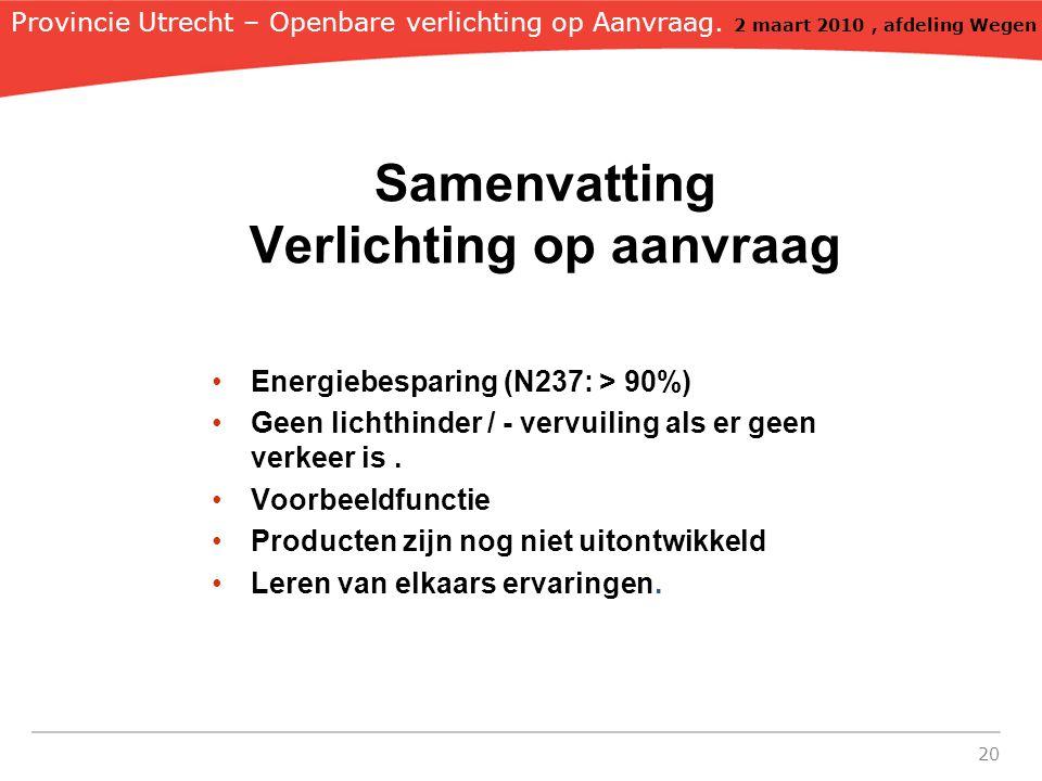 20 Samenvatting Verlichting op aanvraag Energiebesparing (N237: > 90%) Geen lichthinder / - vervuiling als er geen verkeer is.