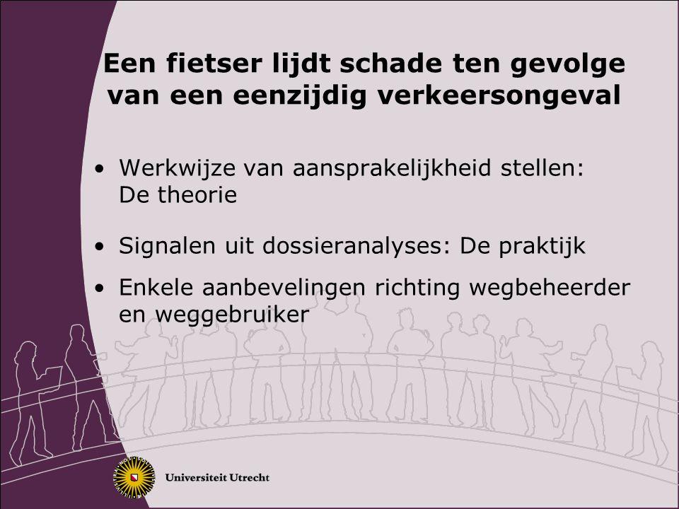 Aansprakelijkheid stellen: twee mogelijke paden Risicoaansprakelijkheid Gebrek aan openbare weg Gebrekkige weguitrusting Gebrekkig weglichaam Berm.