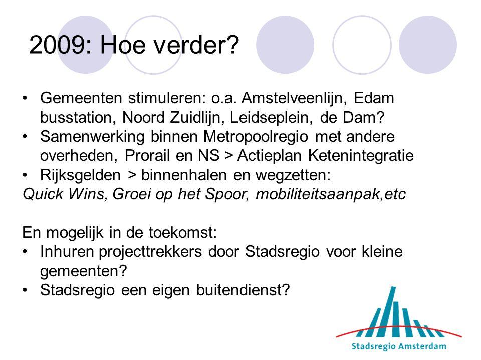 2009: Hoe verder.Gemeenten stimuleren: o.a.