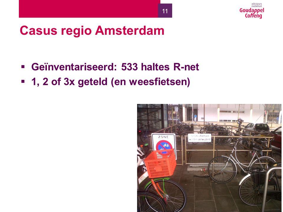 11 Casus regio Amsterdam  Geïnventariseerd: 533 haltes R-net  1, 2 of 3x geteld (en weesfietsen)