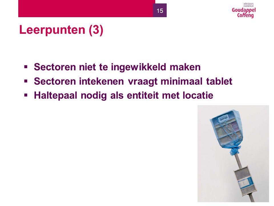 15 Leerpunten (3)  Sectoren niet te ingewikkeld maken  Sectoren intekenen vraagt minimaal tablet  Haltepaal nodig als entiteit met locatie