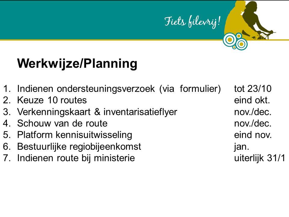 Werkwijze/Planning 1.Indienen ondersteuningsverzoek (via formulier) tot 23/10 2.Keuze 10 routes eind okt. 3.Verkenningskaart & inventarisatieflyer nov