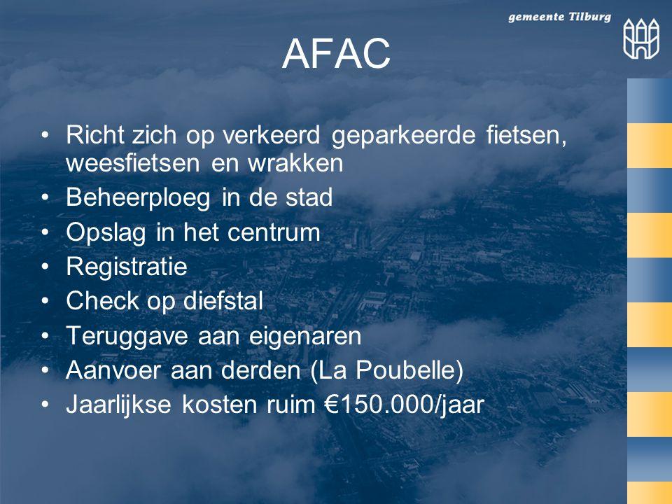 AFAC Richt zich op verkeerd geparkeerde fietsen, weesfietsen en wrakken Beheerploeg in de stad Opslag in het centrum Registratie Check op diefstal Teruggave aan eigenaren Aanvoer aan derden (La Poubelle) Jaarlijkse kosten ruim €150.000/jaar