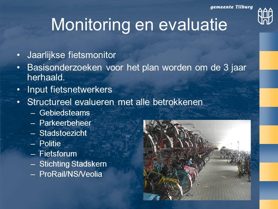 Monitoring en evaluatie Jaarlijkse fietsmonitor Basisonderzoeken voor het plan worden om de 3 jaar herhaald.