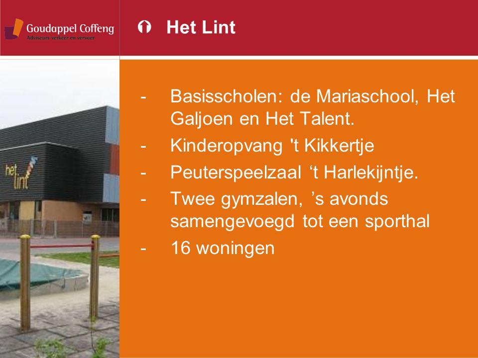 ÝHet Lint -Basisscholen: de Mariaschool, Het Galjoen en Het Talent. -Kinderopvang 't Kikkertje -Peuterspeelzaal 't Harlekijntje. -Twee gymzalen, 's av