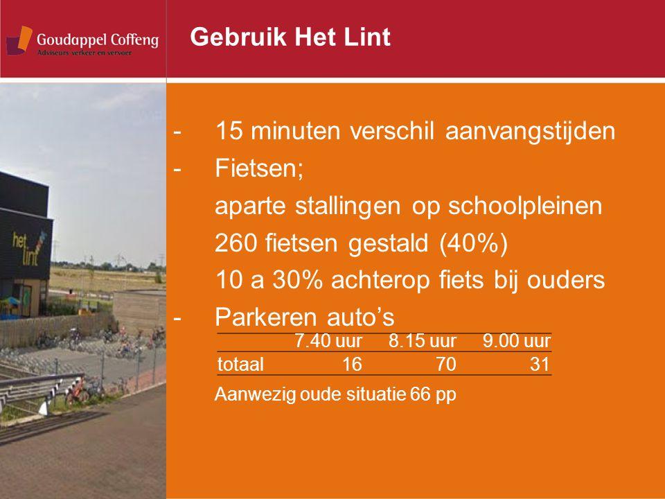 Gebruik Het Lint -15 minuten verschil aanvangstijden -Fietsen; aparte stallingen op schoolpleinen 260 fietsen gestald (40%) 10 a 30% achterop fiets bi