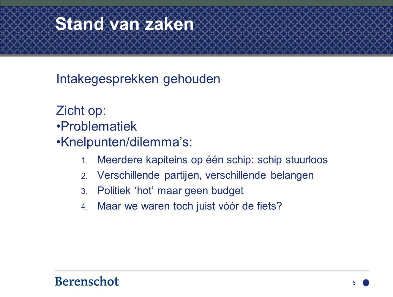 Stand van zaken Intakegesprekken gehouden Zicht op: Problematiek Knelpunten/dilemma's Speelveld Behoefte aan ondersteuning Volgende stap: Stappenplan voor implementatie opstellen Aan het werk.