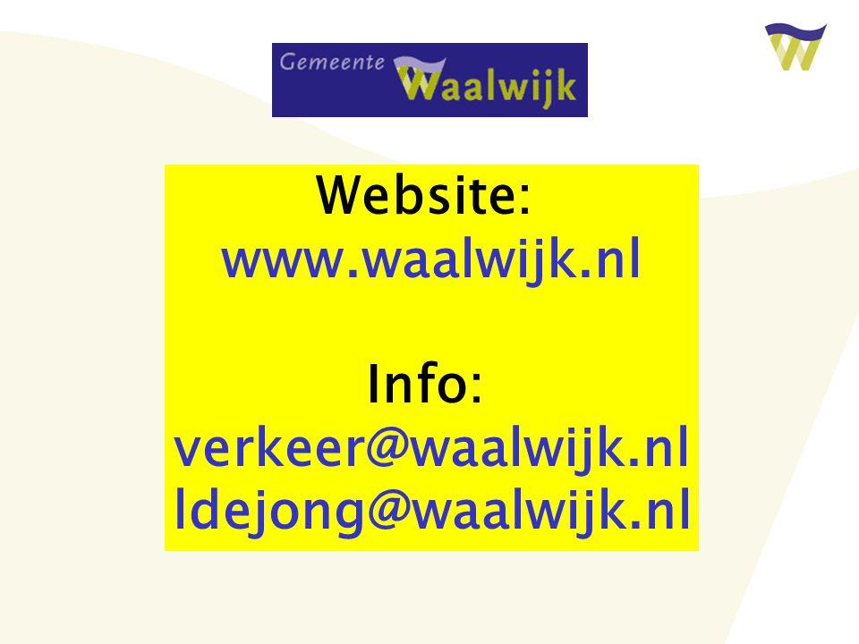 Website: www.waalwijk.nl Info: verkeer@waalwijk.nl ldejong@waalwijk.nl