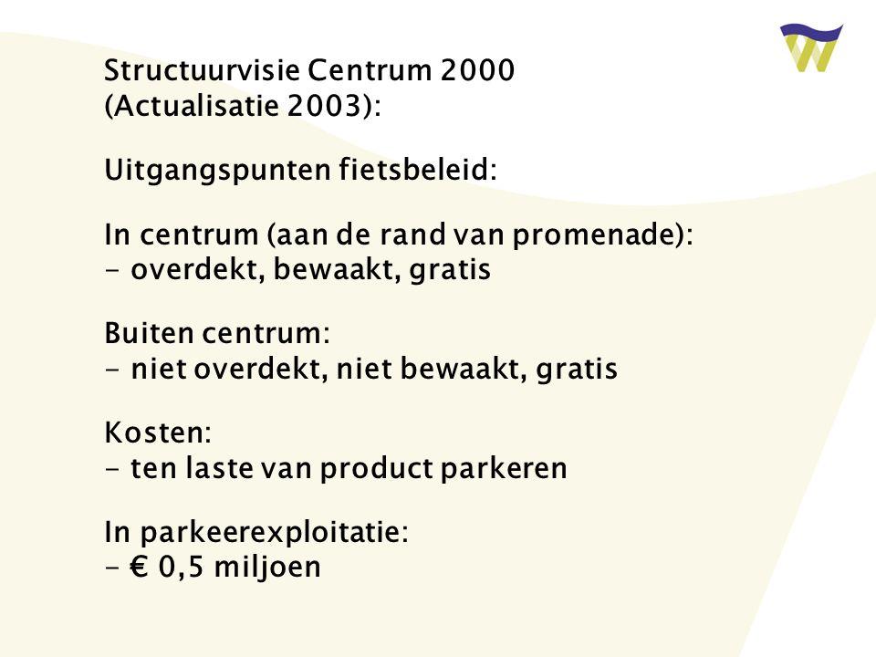 Structuurvisie Centrum 2000 (Actualisatie 2003): Uitgangspunten fietsbeleid: In centrum (aan de rand van promenade): - overdekt, bewaakt, gratis Buiten centrum: - niet overdekt, niet bewaakt, gratis Kosten: - ten laste van product parkeren In parkeerexploitatie: - € 0,5 miljoen