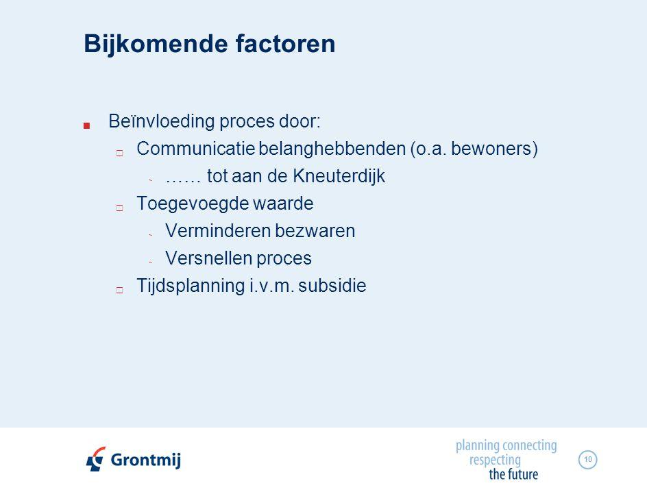 10 Bijkomende factoren  Beïnvloeding proces door:  Communicatie belanghebbenden (o.a. bewoners) ~ …… tot aan de Kneuterdijk  Toegevoegde waarde ~ V
