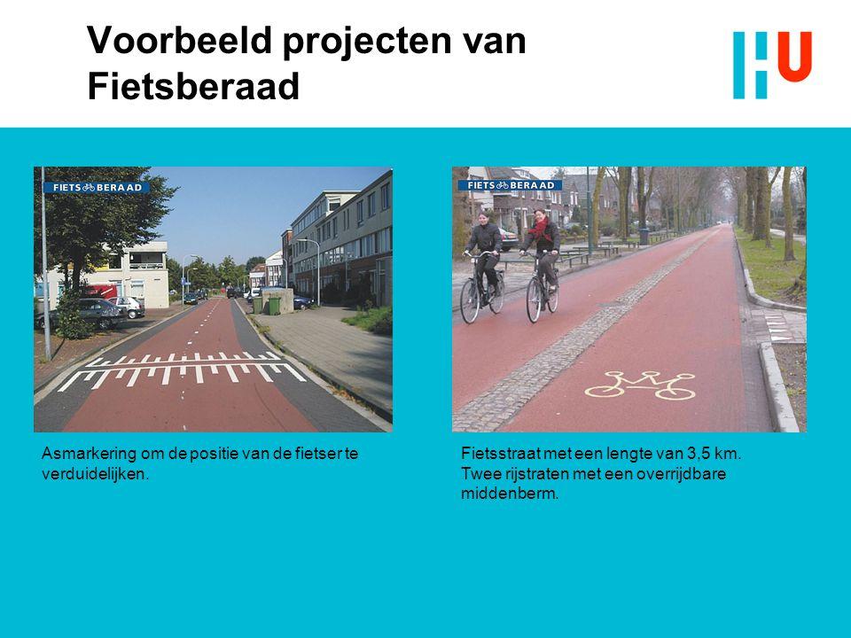 Voorbeeld projecten van Fietsberaad Asmarkering om de positie van de fietser te verduidelijken.