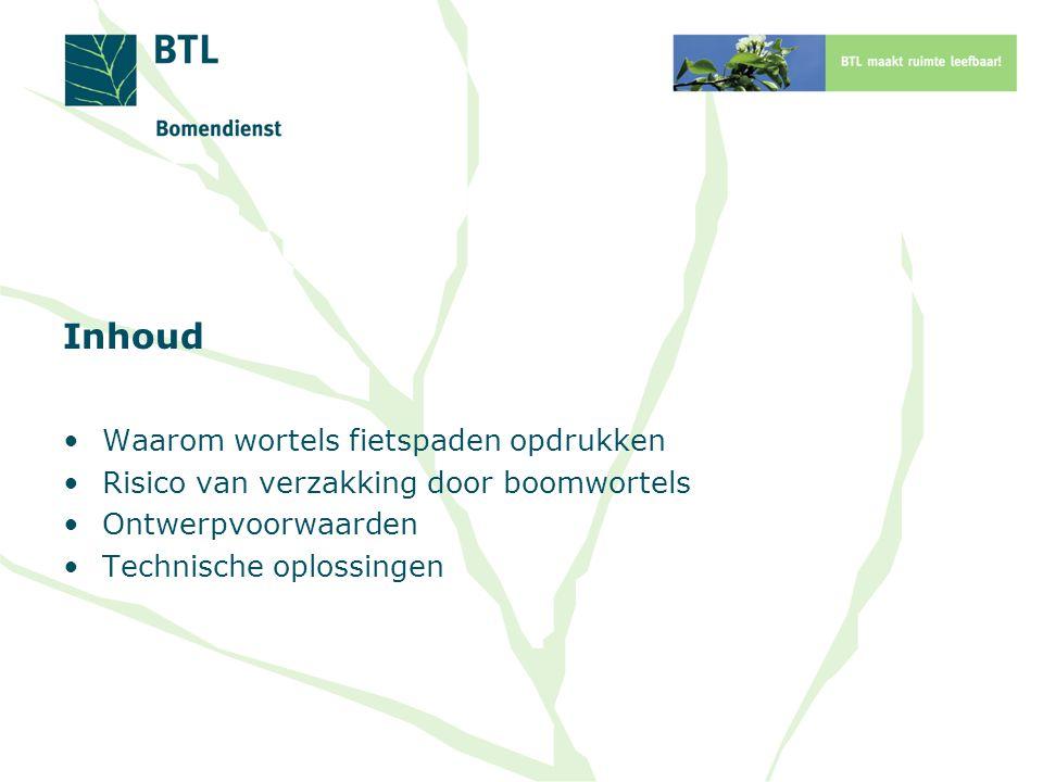 Inhoud Waarom wortels fietspaden opdrukken Risico van verzakking door boomwortels Ontwerpvoorwaarden Technische oplossingen