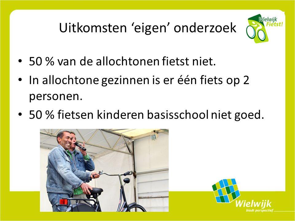 Uitkomsten 'eigen' onderzoek 50 % van de allochtonen fietst niet.