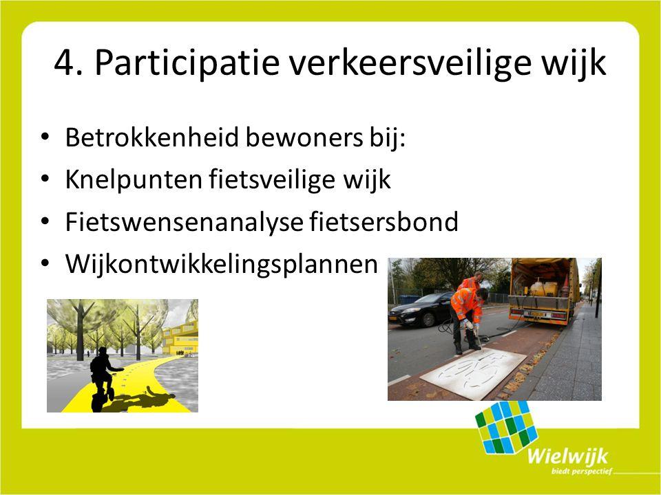 4. Participatie verkeersveilige wijk Betrokkenheid bewoners bij: Knelpunten fietsveilige wijk Fietswensenanalyse fietsersbond Wijkontwikkelingsplannen