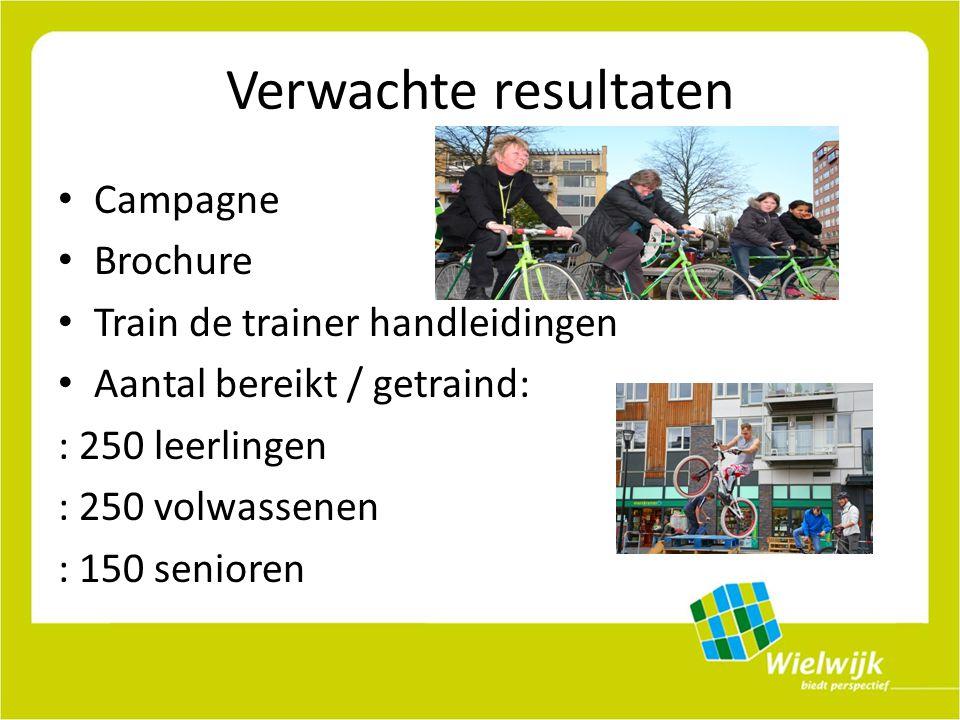 Verwachte resultaten Campagne Brochure Train de trainer handleidingen Aantal bereikt / getraind: : 250 leerlingen : 250 volwassenen : 150 senioren