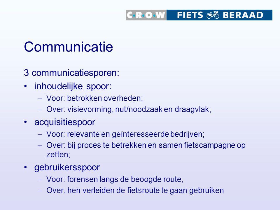 Communicatie 3 communicatiesporen: inhoudelijke spoor: –Voor: betrokken overheden; –Over: visievorming, nut/noodzaak en draagvlak; acquisitiespoor –Vo